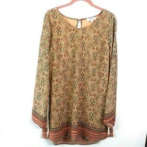 Umgee | Fringe sleeve printed tunic dress Medium